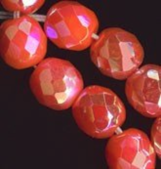 Vintage faceted AB round Germany. 8mm. Pkg of 4. b11-yo-0870-2