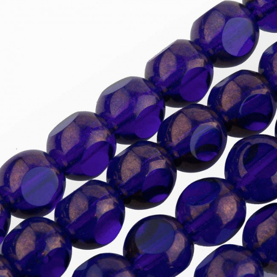 Cobalt Gold Metallic Sliced 6mm Window Beads. Strand of 25. B11-BL-0597-1