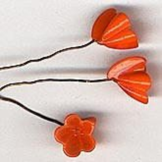 Vintage Lampwork Glass Flower on Wire. 10mm. Pkg of 1. B11-YO-0772