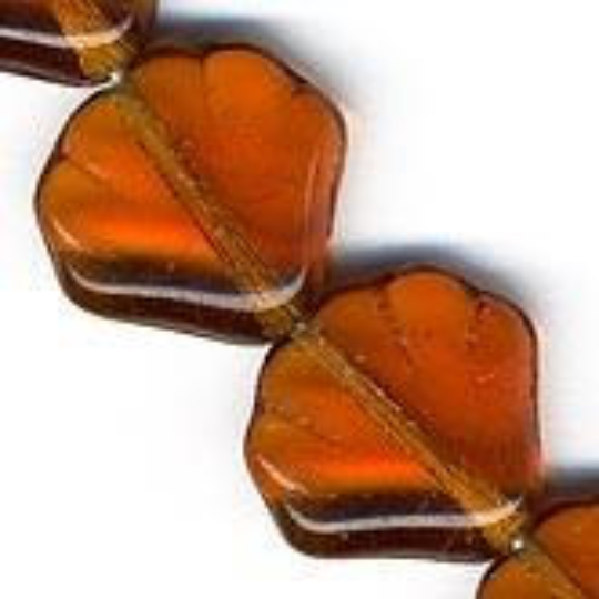 Czech Amber Glass Scallop Bead. 14mm. Pkg of 5. b11-yo-0749