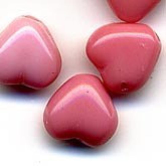 Vintage Czech rose hearts. 8mm. Pkg of 20. b11-pp-0578-2