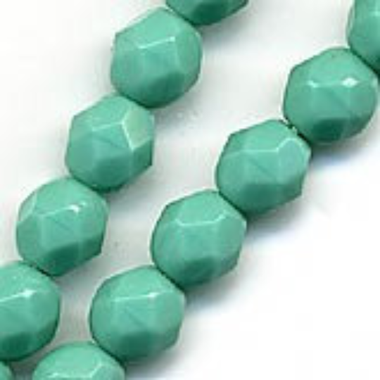 Czech Faceted Turquoise Glass Rounds, 4mm, strand of 50. b11-bl-0760-1