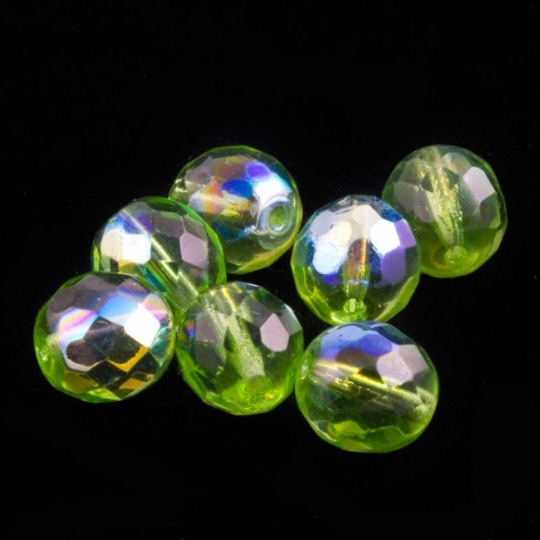 Vintage peridot green faceted rounds with AB coating. 9mm, Pkg of 10. b11-gr-1053