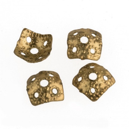 Vintage unplated brass bead cap, a rounded square. Pkg of 10. b9-0629