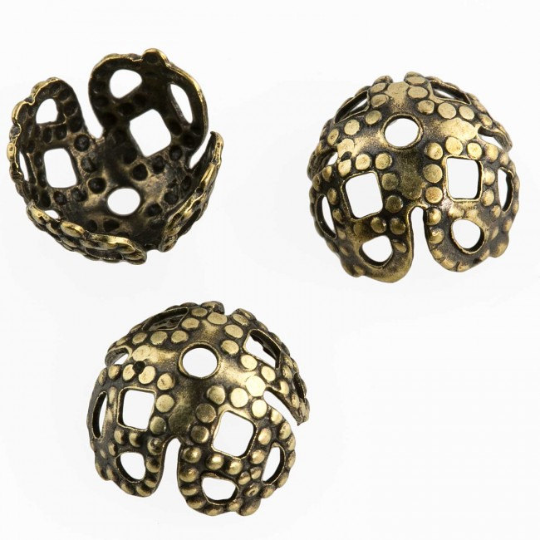 Antiqued brass filigree 4-petal bead cap. 6mm. Pkg of 6. b9-2436