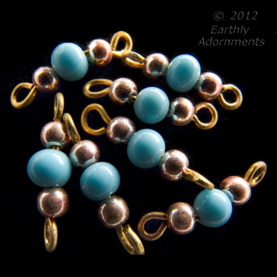 Vintage turquoise glass and brass bead wired links. Japan. pkg of 25. b11-bl-2039