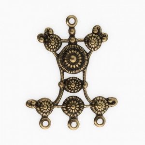 Stamped oxidized brass granulated chandelier pendant or connector. 34x27mm. Package of 2. b9-2390