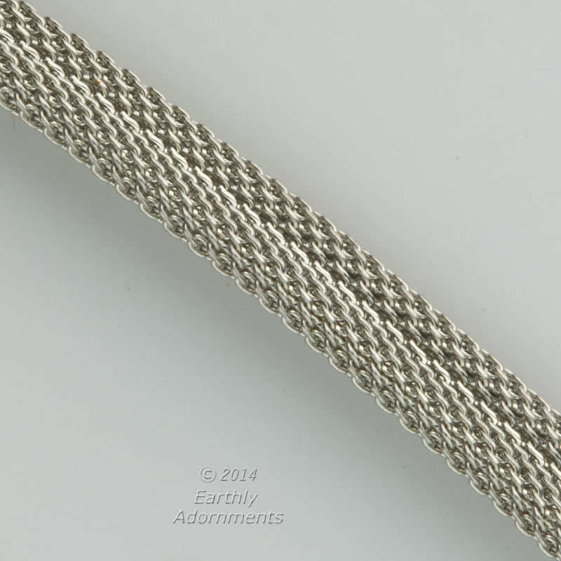 Vintage silver flat folded mesh chain. 6mm wide. Sold by the foot. b12-chn699(e)