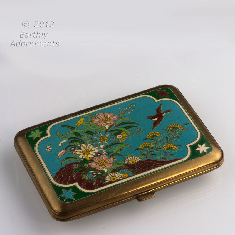 Sterling & guilloche enamel compact. CPAD233