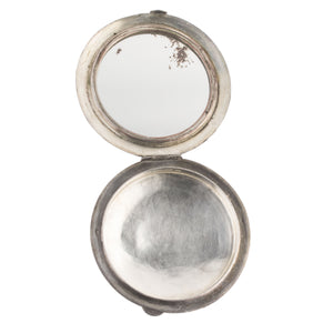 "Antique Chinese large sterling and coin silver powder compact case with mirror. 3.5"" Diameter. signed. cpor404"