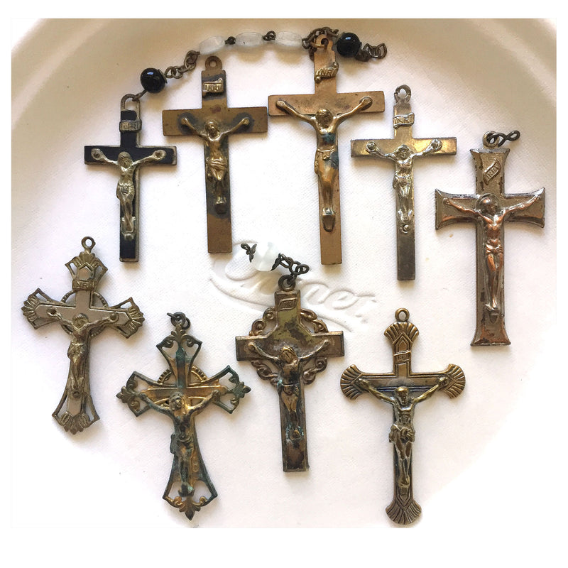 A group of 9 vintage and antique crucifixes. 1-3/4 - 2