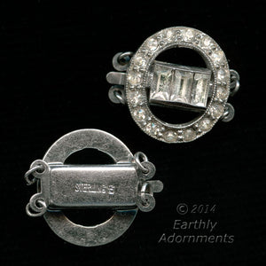 Vintage Art Deco sterling silver and rhinestone 3-strand push-in box clasp. b8-302