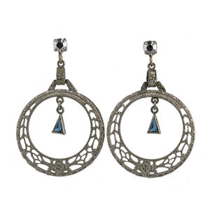 Art Deco chrome plated filigree hoops with sapphire glass stone and glass marcasite posts. ERAD790
