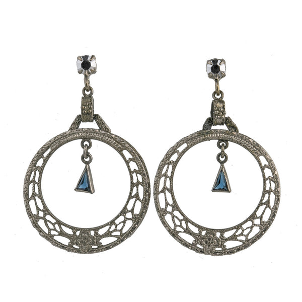 ERAD790-art Deco chrome plated filigree hoops with sapphire glass stone and glass marcasite posts