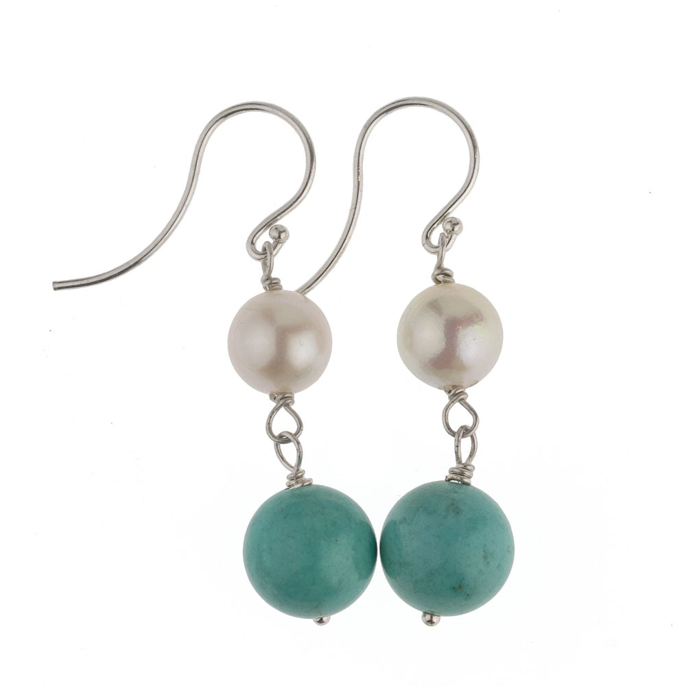 Earrings of vintage natural turquoise, vintage Japanese Akoya baroque pearl and sterling silver wire. erbd112-