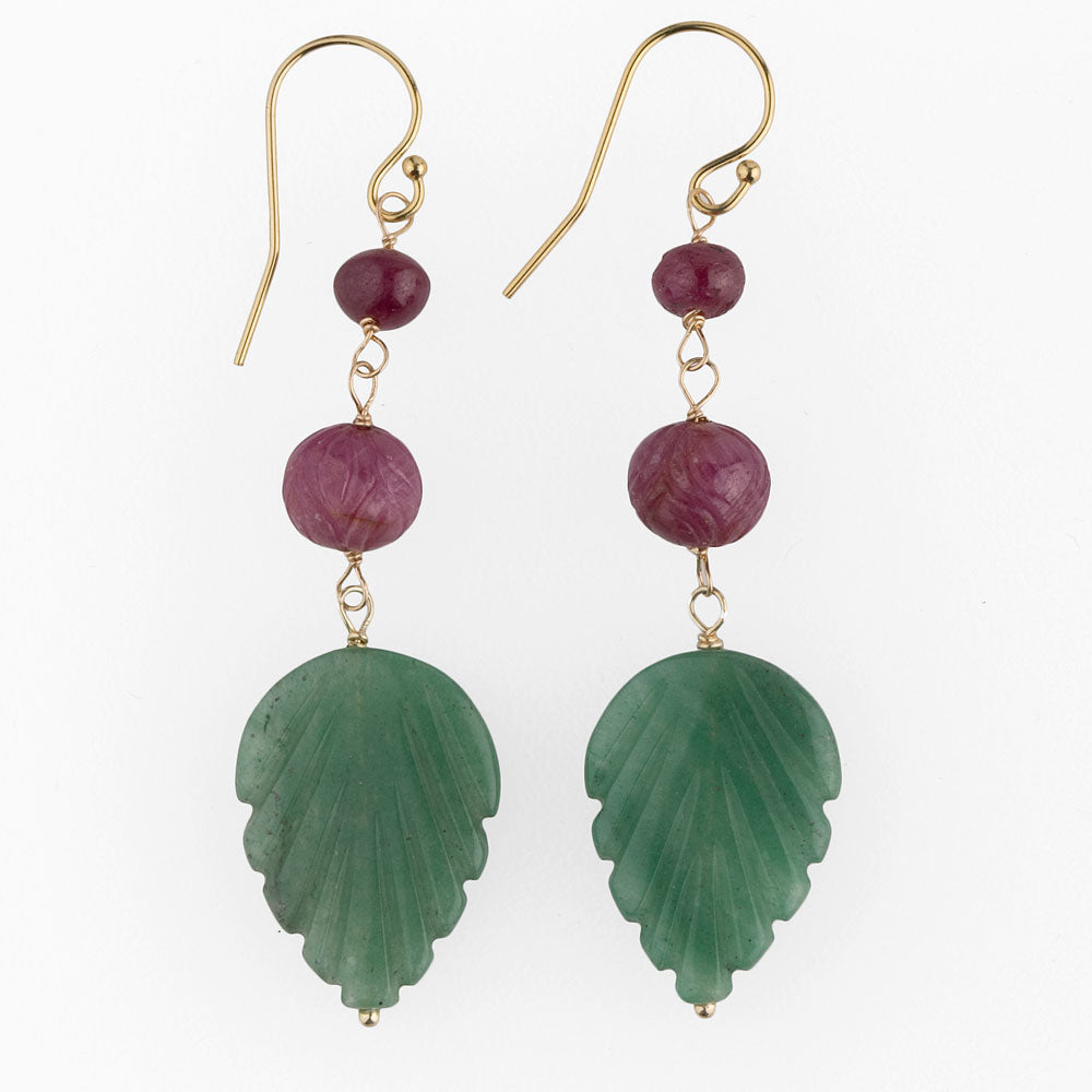 Artisan earrings carved green aventurine and Mysore rubies. erbd123