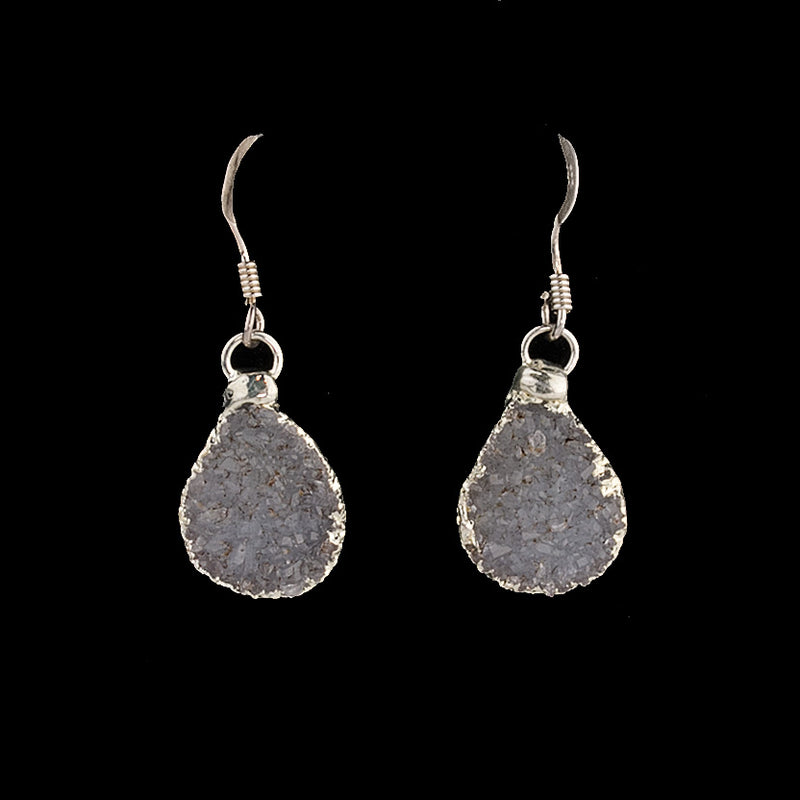 Natural Uruguayan Agate druzy and sterling silver drop earrings. erbd125cs