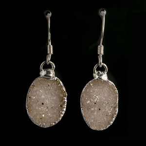 Natural Uruguayan Agate druzy and sterling silver drop earrings. erbd128cs