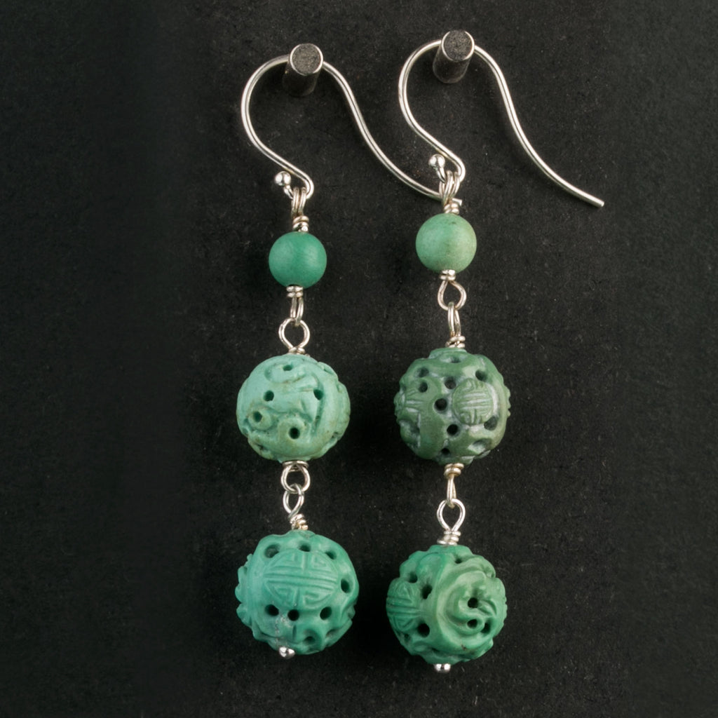 Vintage Chinese hand carved natural turquoise bead earrings. erbd134