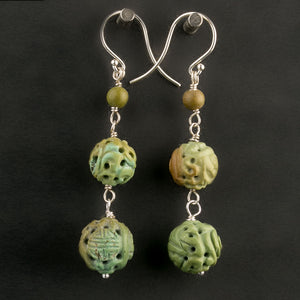 Vintage Chinese hand carved natural turquoise bead earrings. erbd138