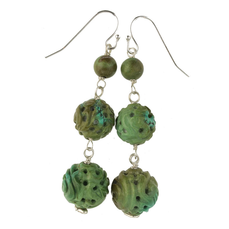 Chinese hand carved natural turquoise bead earrings. erbd138