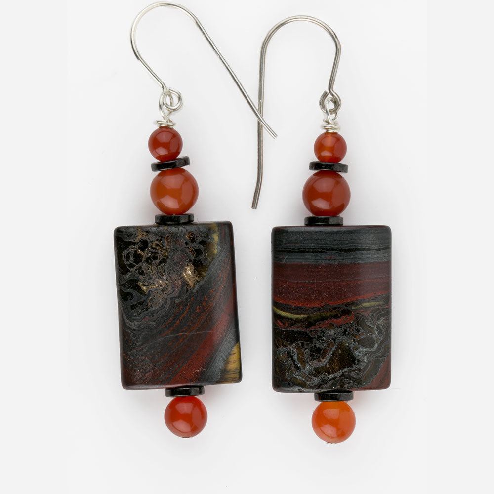 Jasper, carnelian and hematite bead earrings with sterling silver ear wires. erbd148e