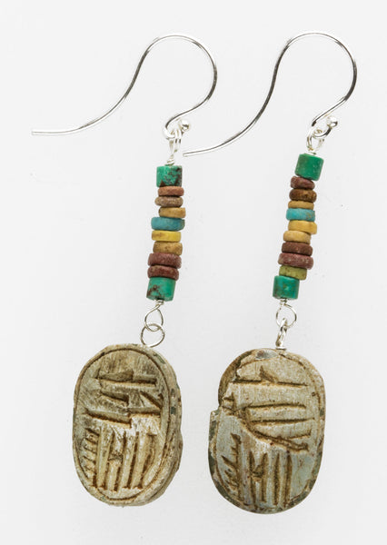 Earrings of antique Egyptian steatite scarab amulet beads with ancient Egyptian faience beads erbd150(e)