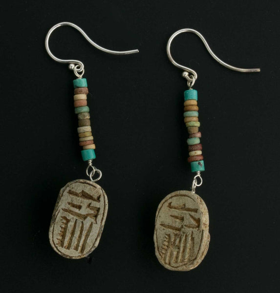 Earrings of antique Egyptian steatite scarab amulet beads with ancient Egyptian faience beads erbd151(e)