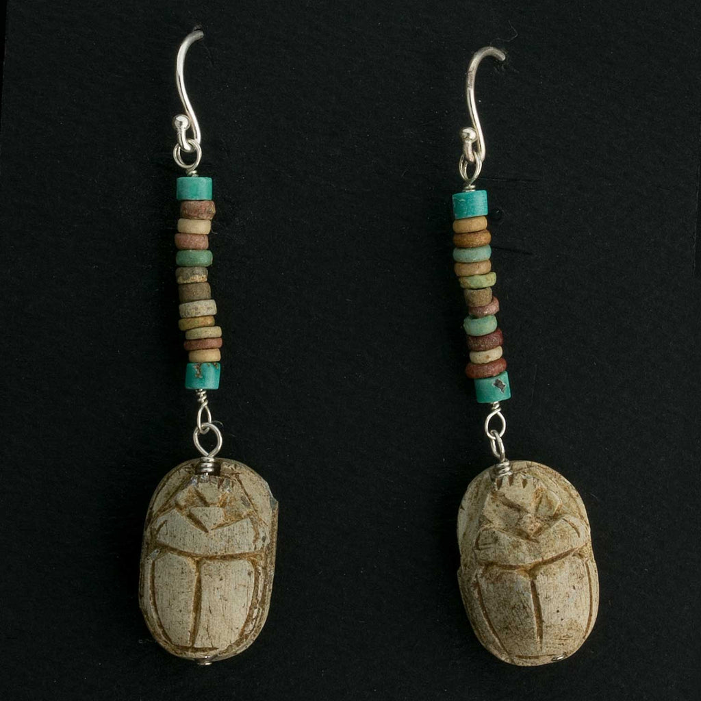 Earrings of antique Egyptian steatite scarab amulet beads with ancient Egyptian faience beads. erbd151(e)