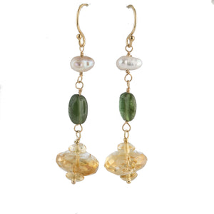 Earrings of vintage natural citrine and tourmaline beads with Biwa freshwater pearls, 14k gold wire.  erbd153