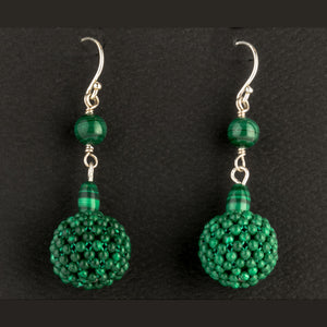 Woven Malachite beaded bead and sterling silver earrings.  erbd154