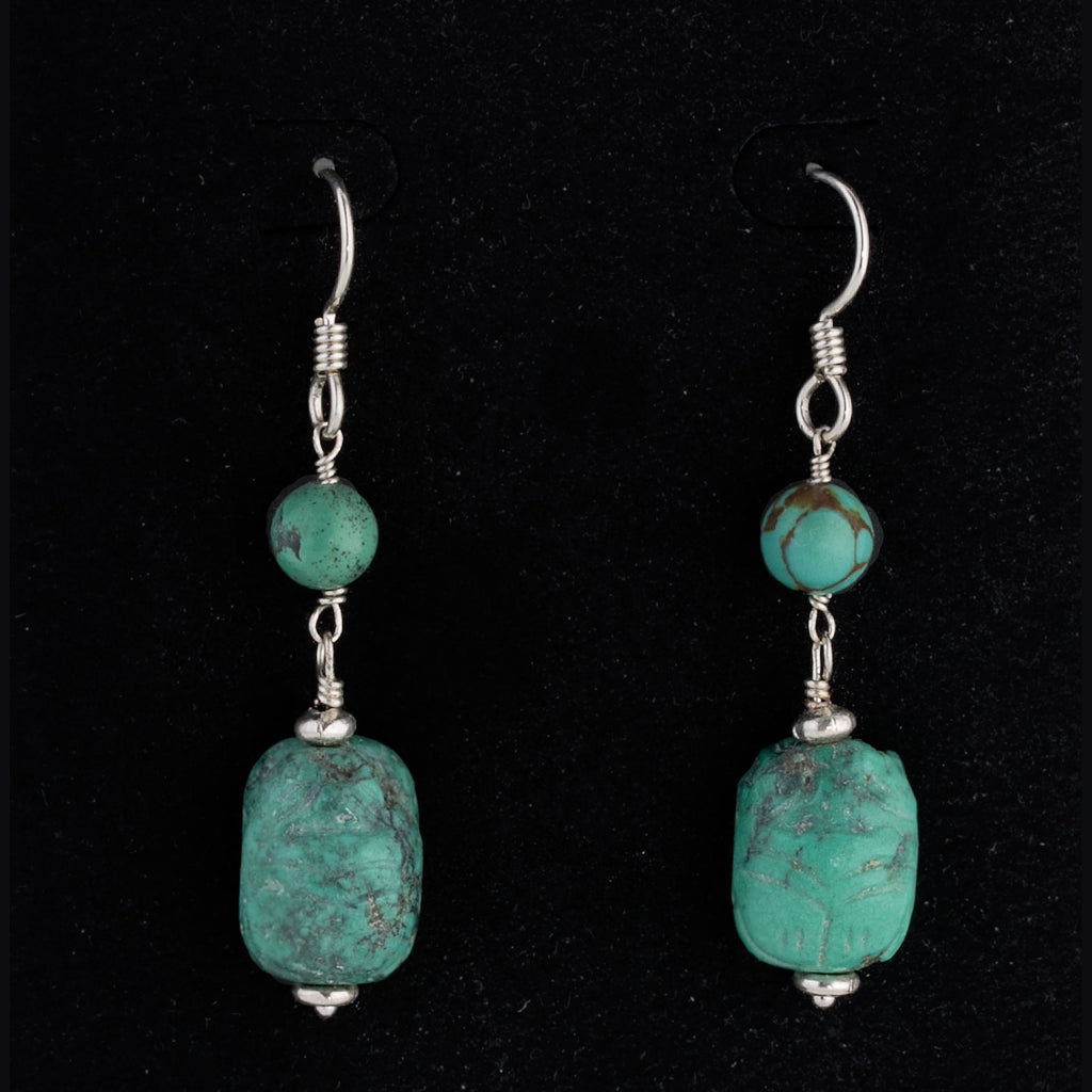 Vintage carved turquoise scarab and sterling silver earrings.  erbd155