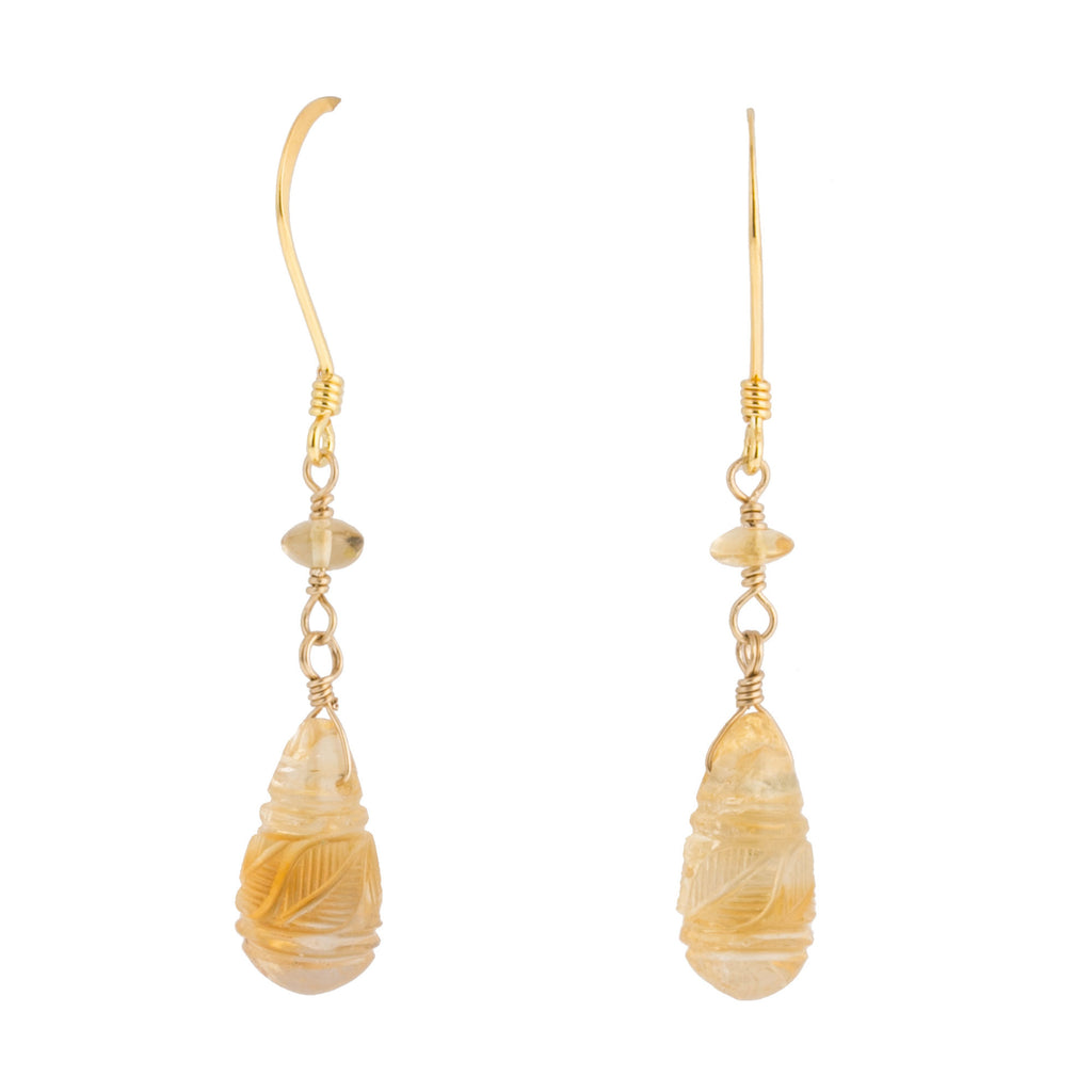 Earrings of vintage natural carved Citrine teardrops beads. erbd156