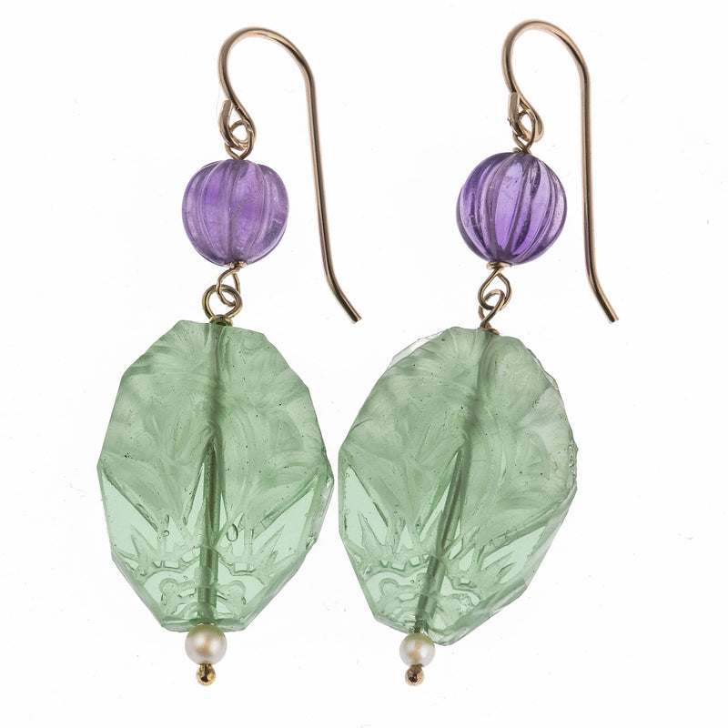Antique French Lalique style bead earrings with carved Amethyst melon beads and freshwater seed pearls. erbd158