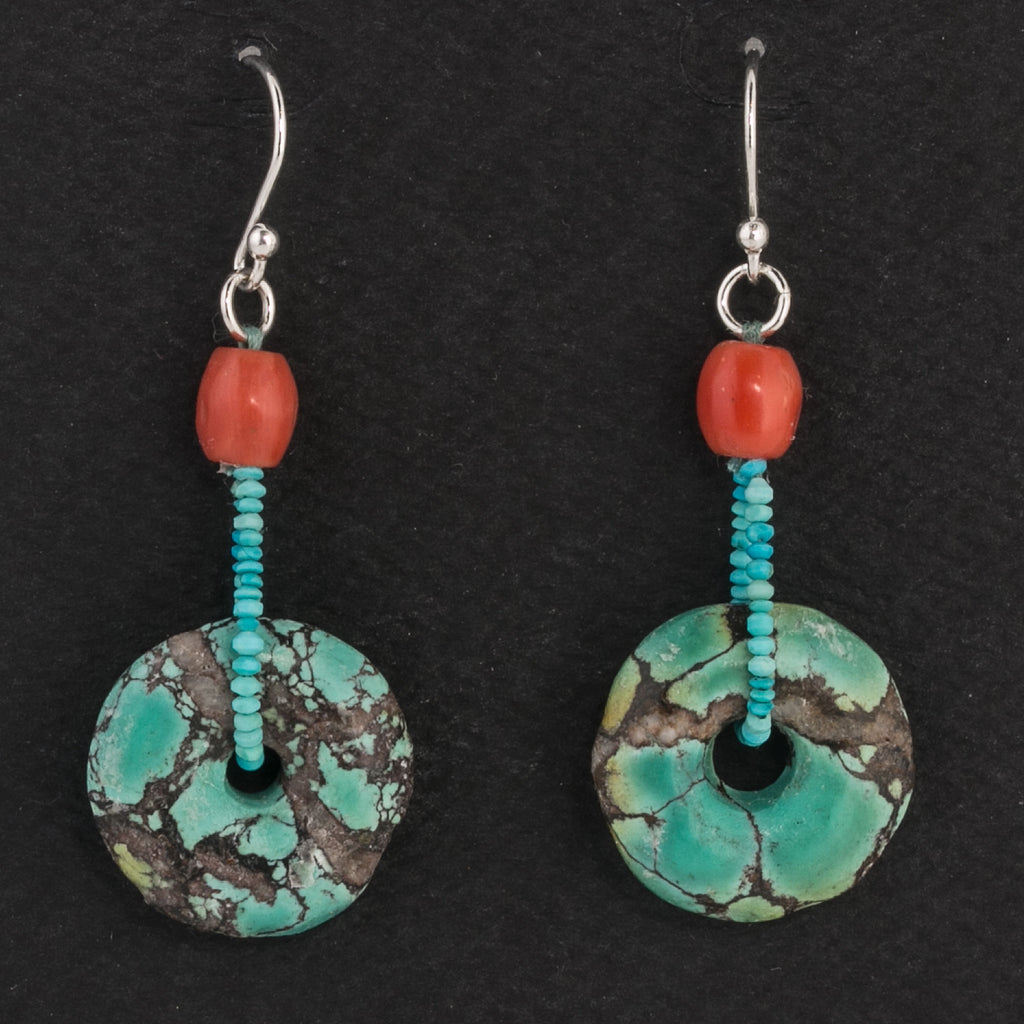 Vintage natural Turquoise matrix Pi bead and red Mediteranean coral earrings.  Sterling ear wires. erbd160