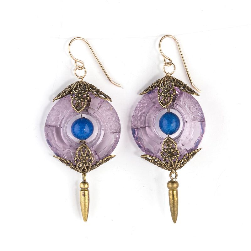 Art Deco style earrings of vintage Bohemian etched amethyst glass rings, denim Lapis and brass filigree. GF earwires. erbg864