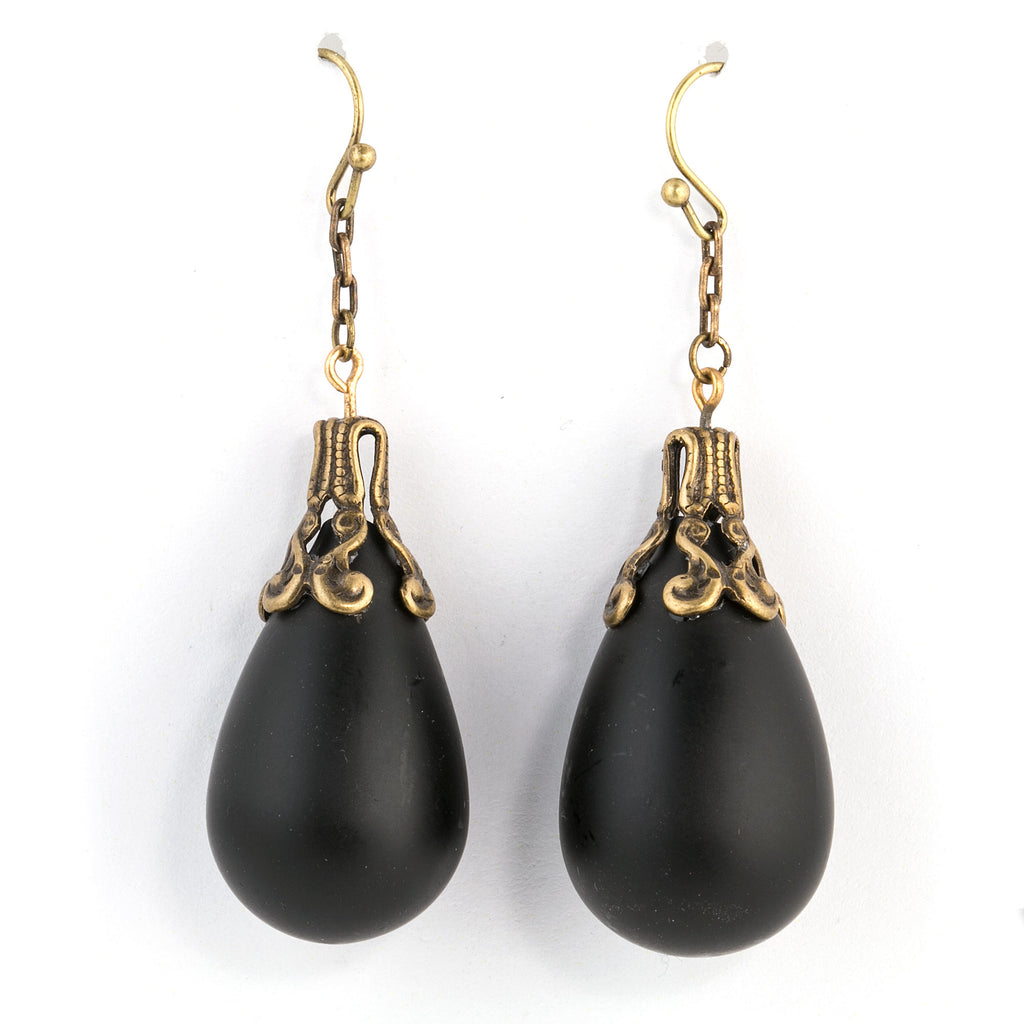 1920s French handmade hollow matte black glass teardrop beads.  erbg869