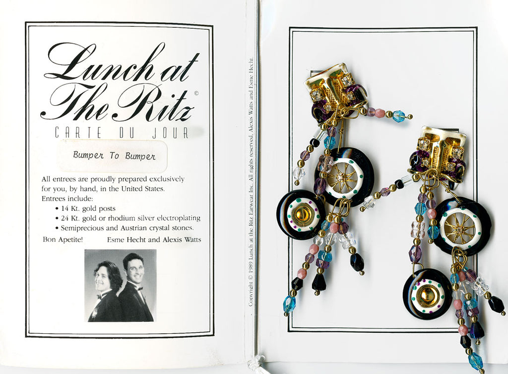 Lunch at the Ritz Bumper to Bumper earrings. Rare! 1989. ercs664sbke