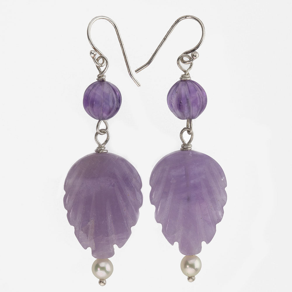 Vintage carved amethyst leaf and pearl drop earrings. erfn115