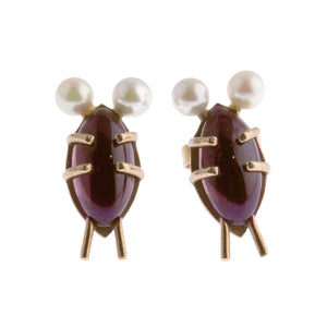 "Garnet and 14k Gold ""Bug"" Earrings with White Pearl Antennae Earrings on 14k Gold Posts. Cute as a bug! erfn120cs"
