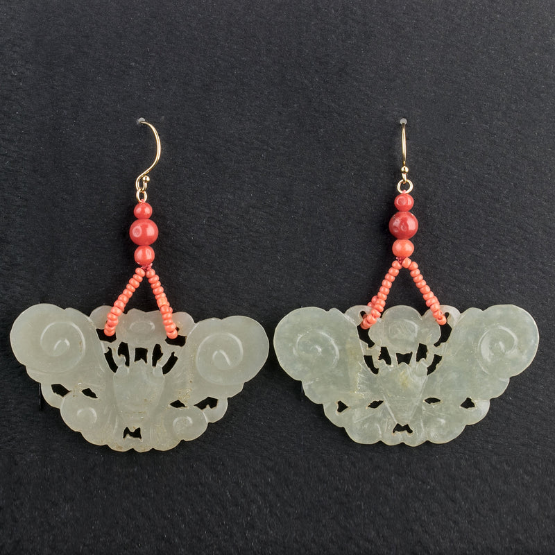 Vintage Nephrite Jade moth earrings with antique Chinese coral beads. Gold filled ear wires. erja835