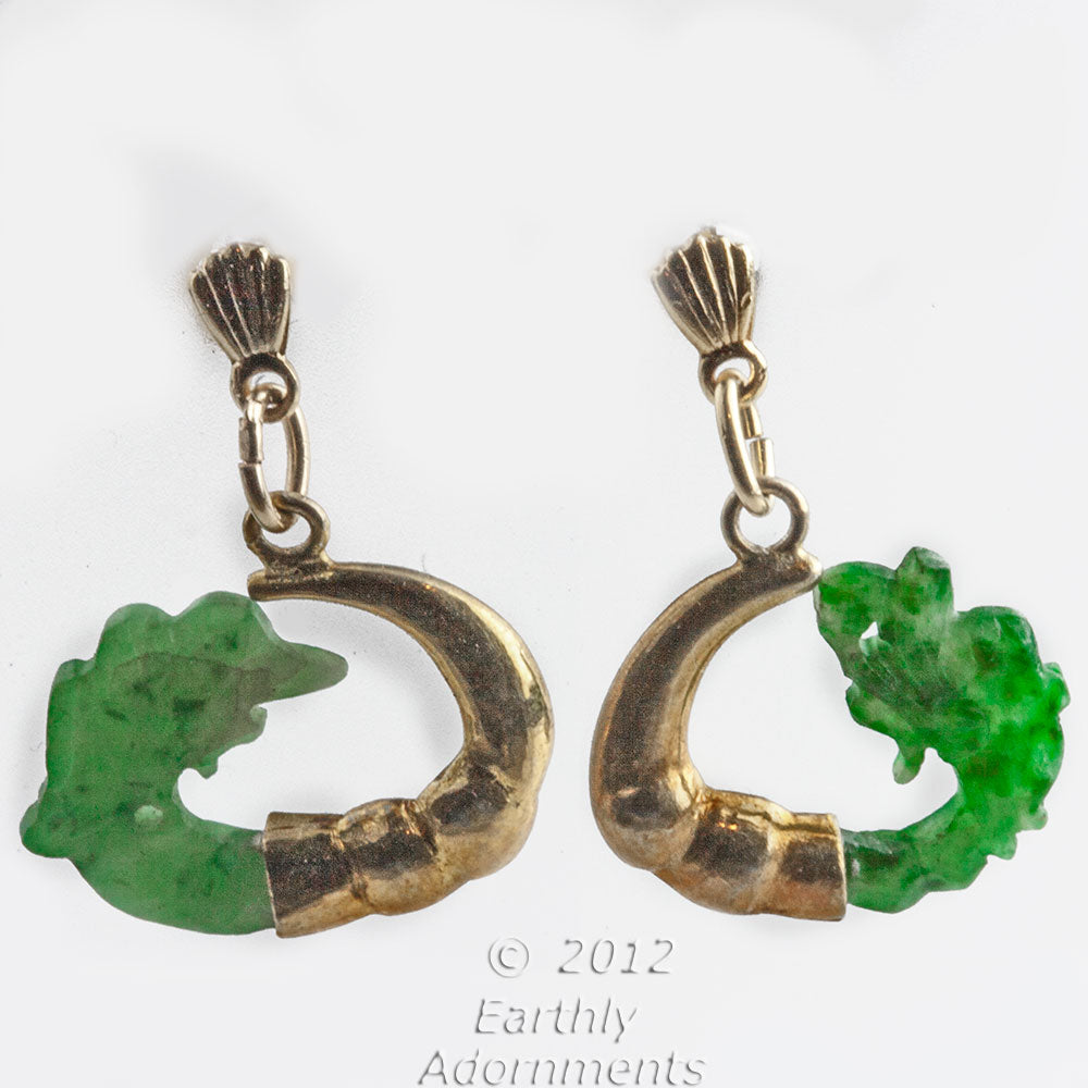 Vintage Chinese export jade dragon and silver vermeil earrings. erja855