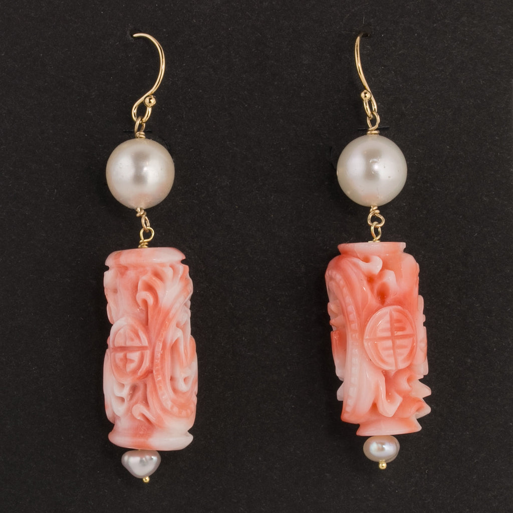 Earrings of vintage intricately carved natural pink angelskin coral cylinder beads and vintage Japanese Akoya pearls erja863
