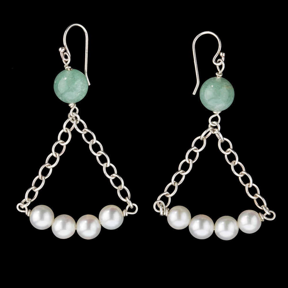 erja868(e)- Vintage earrings of 4 Japanese Akoya pearls dropped from sterling chain with jadeite bead.
