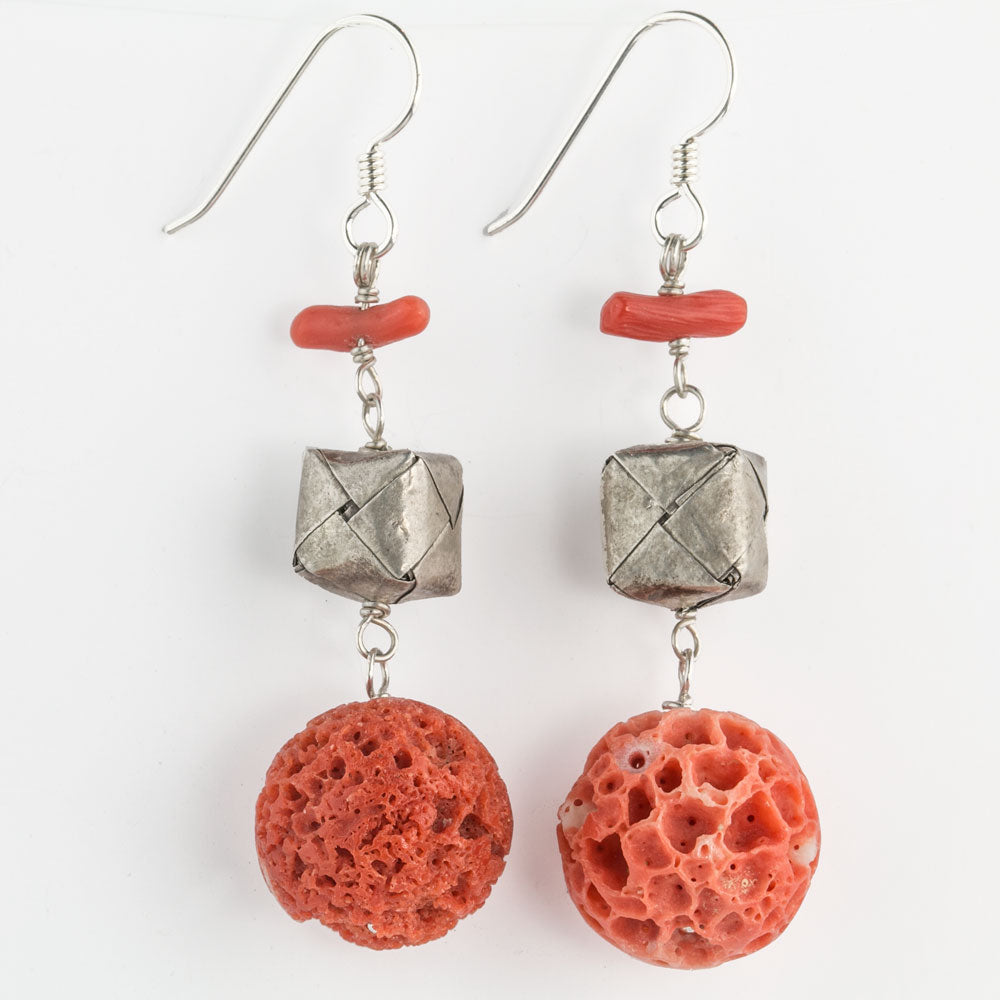 Artisan earrings of rare vintage large porous salmon coral beads with Karen hill tribe silver. erja878