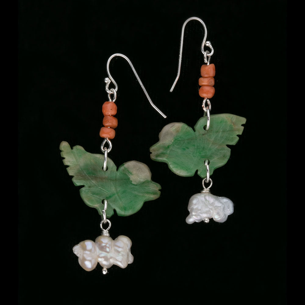 Antique coral, carved jadeite bird and vintage Japanese Biwa pearl earrings. erja884