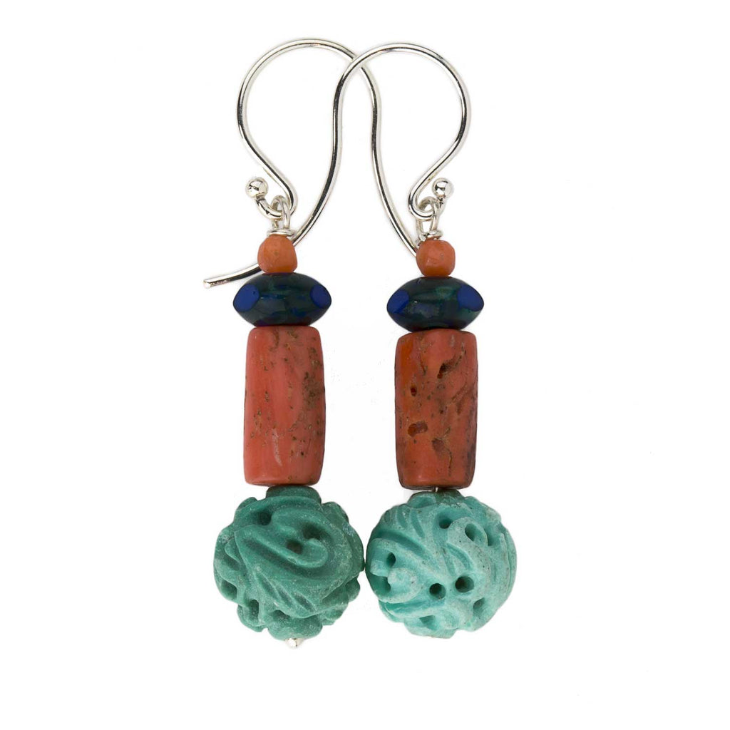 Vintage Natural carved Chinese turquoise earrings, red coral and lapis earrings. erja887(e)