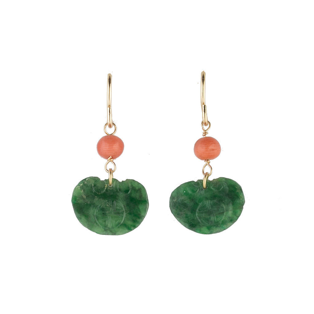 Earrings of antique carved green jade ornaments and deep salmon coral beads. erja888