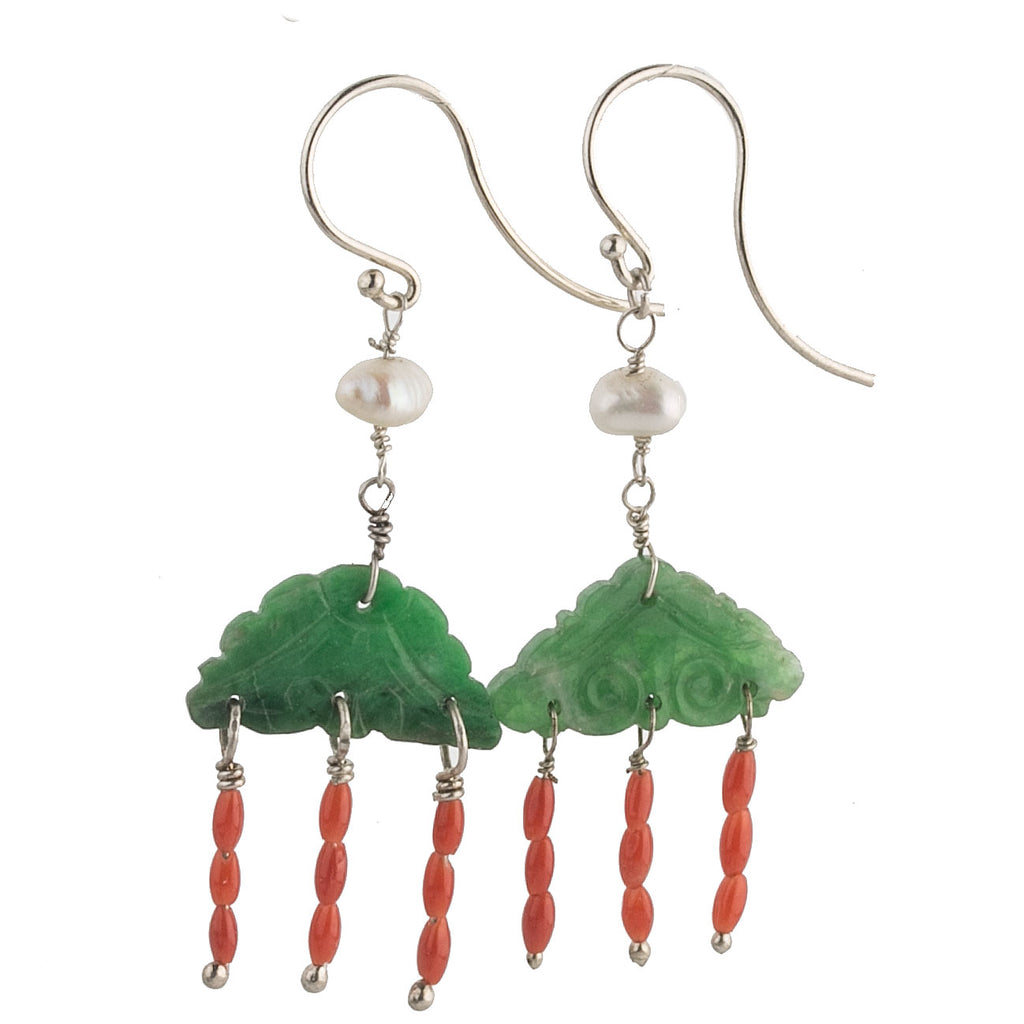 Antique coral, carved jadeite ornamental plaque and vintage Japanese freshwater pearl earrings. erja891