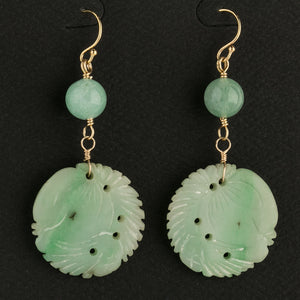 Antique Chinese ornamental jade disk earrings- erja892